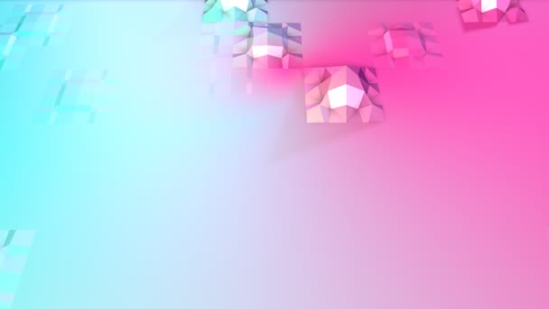 Abstract simple blue pink low poly 3D surface as fashion background. Soft geometric low poly motion background of shifting pure blue pink polygons. 4K Fullhd seamless loop background with copy space