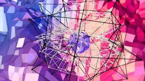 Abstraktní jednoduché modré červené nízké poly 3d povrch jako struktura atomu. Měkký geometrické nízké poly pohybu pozadí s čistě modré červené mnohoúhelníky. 4 k Fullhd bezešvé smyčka pozadí s přechodem modrá červená
