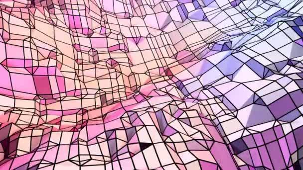 Měkký geometrické nízké poly pohybu pozadí s čistě modré červené mnohoúhelníky. Abstraktní jednoduché modré červené nízké poly 3d povrch jako geometrické struktury. 4 k Fullhd bezešvé smyčka pozadí s přechodem modrá červená