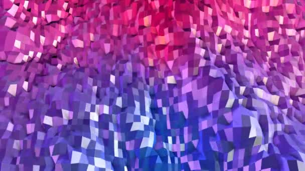 Abstract simple blue red low poly 3D surface as landscape. Soft geometric low poly motion background with pure blue red polygons. 4K Fullhd seamless loop background with gradient blue red
