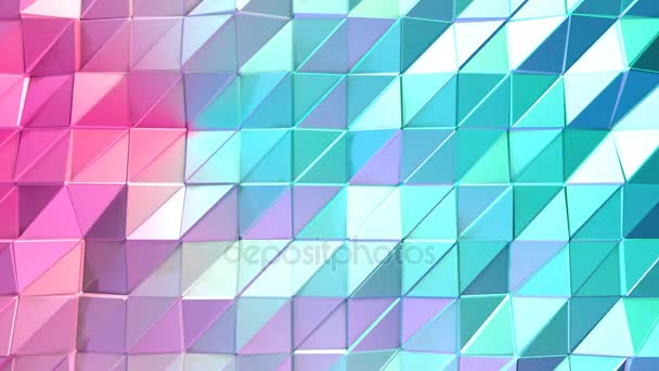 Abstract simple blue pink low poly 3D surface as luxury environment. Soft geometric low poly motion background of shifting pure blue pink polygons. 4K Fullhd seamless loop background