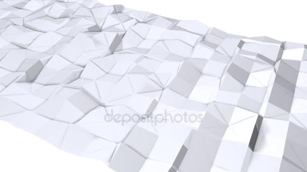 einfache Low Poly 3D Oberfläche als elegante Umgebung. weicher geometrischer Low-Poly-Hintergrund aus reinweißen grauen Polygonen. 4k full hd nahtloser Schleifenhintergrund mit Kopierraum