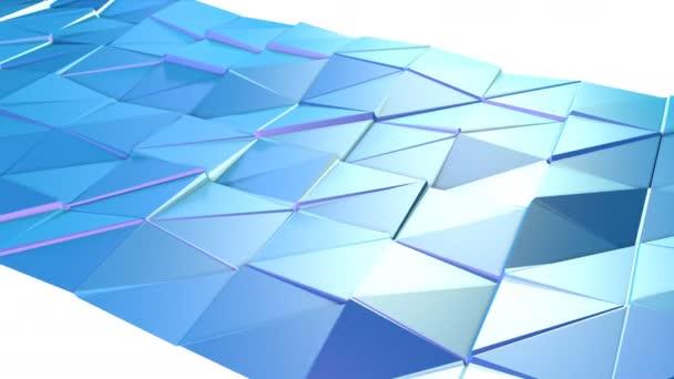 Abstraktní jednoduché modré fialové nízké poly 3d povrch jako populární prostředí. Měkký geometrické nízké poly pohybu pozadí posunu čistě modré fialové mnohoúhelníky. 4 k Fullhd bezešvé smyčka pozadí