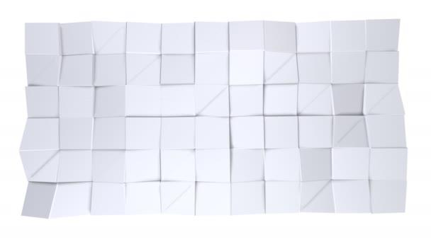 Jednoduché nízké poly 3d povrch jako poligonal prostředí. Měkký geometrické nízké poly pozadí čistě bílé šedé polygonů. 4 k rozlišení Full hd bezešvé smyčka pozadí s kopií prostor