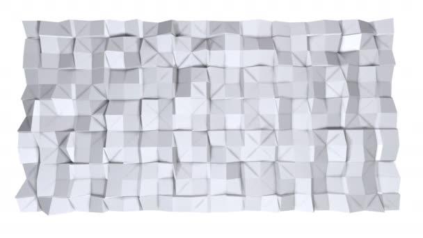 Jednoduché nízké poly 3d povrch jako prostředí. Měkký geometrické nízké poly pozadí čistě bílé šedé polygonů. 4 k rozlišení Full hd bezešvé smyčka pozadí s kopií prostor