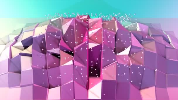 Abstract simple blue pink low poly 3D surface and flying white crystals as atom structure. Soft geometric low poly background with copy space. 4K Fullhd seamless loop background.