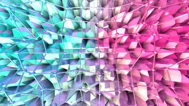 Low poly 3D surface with flying grid or mesh and moving spheres as cartoon background. Soft geometric low poly background of pure blue pink red polygons. 4K Fullhd seamless loop background