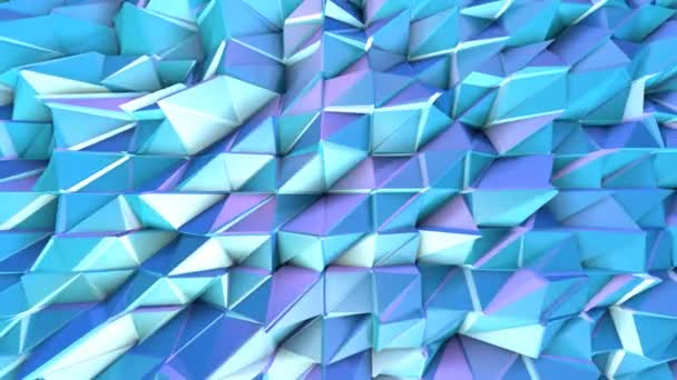 Abstract simple blue violet low poly 3D surface as technology background. Soft geometric low poly motion background of shifting pure blue violet polygons. 4K Fullhd seamless loop background