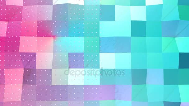 abstract simple blue pink low poly 3d surface and flying white