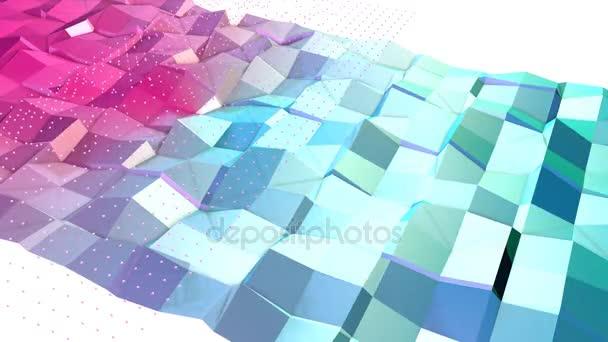Absztrakt egyszerű kék rózsaszín alacsony poly 3d felület és a repülő fehér kristályok kibernetikus környezet. Lágy geometrikus alacsony poly háttér a tiszta, kék, rózsaszín sokszög. 4 k Fullhd varrat nélküli hurok háttér