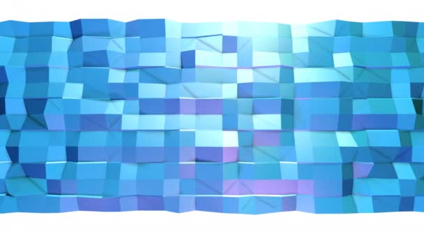 Abstract simple blue violet low poly 3D surface as transforming environment. Soft geometric low poly motion background of shifting pure blue violet polygons. 4K Fullhd seamless loop background