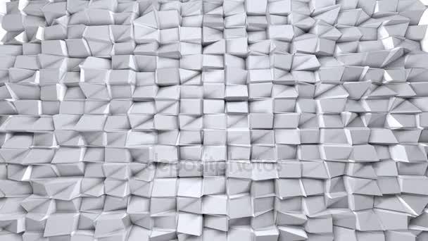 Egyszerű alacsony poly 3d hullámos felület, mint elegáns háttér. Lágy geometrikus alacsony poly háttér tiszta fehér szürke sokszög. 4 k Full hd varrat nélküli hurok háttér-val másol hely