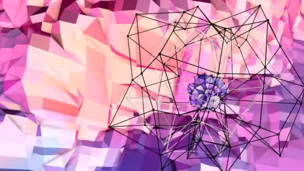 Soft geometric low poly motion background with pure blue red polygons. Abstract simple blue red low poly 3D surface as cybernetic field. 4K Fullhd seamless loop background with gradient blue red