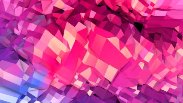 Abstract simple blue red low poly 3D surface as fantastic relief. Soft geometric low poly motion background with pure blue red polygons. 4K Fullhd seamless loop background with gradient blue red