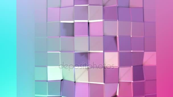 Absztrakt egyszerű kék rózsaszín alacsony poly 3d felület geometriai struktúrát. Lágy geometrikus alacsony poly mozgás háttérben változó tiszta kék rózsaszín sokszögek. 4 k Fullhd varrat nélküli hurok háttér-val másol hely