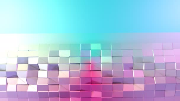Abstract simple blue pink low poly 3D surface as geometric structure. Soft low poly motion background of shifting pure blue pink polygons. 4K Fullhd seamless loop background with copy space 3