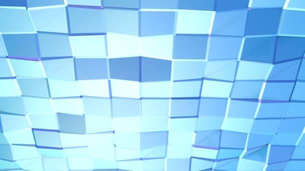 Abstraktní jednoduché modré fialové nízké poly 3d povrch jako Cg pozadí. Měkký geometrické nízké poly pohybu pozadí posunu čistě modré fialové mnohoúhelníky. 4 k Fullhd bezešvé smyčka pozadí