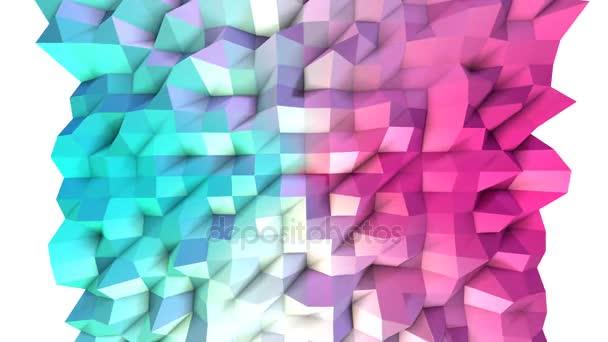 Abstraktní jednoduché modré růžové nízké poly 3d povrch jako jednoduché pozadí. Měkký geometrické nízké poly pohybu pozadí posunu čistě modrá růžová mnohoúhelníky. 4 k Fullhd bezešvé smyčka pozadí