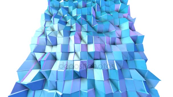 Abstract simple blue violet low poly 3D surface as trendy background. Soft geometric low poly motion background of shifting pure blue violet polygons. 4K Fullhd seamless loop background
