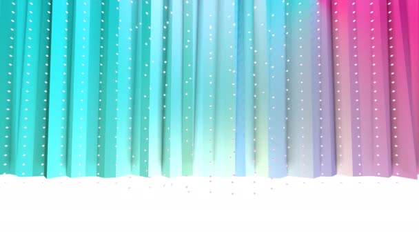 Abstract simple blue pink low poly 3D curtains and flying white crystals as cool backdrop. Soft geometric low poly background of pure blue pink polygons. 4K Fullhd seamless loop background.