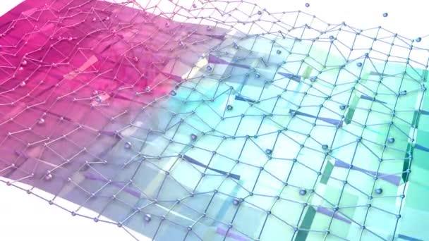 Nízké poly 3d povrchu s flying mřížky nebo mesh a pohybující se koule jako elegantní prostředí. Měkký geometrické nízké poly pozadí čistě modrá růžová červená polygonů. 4 k Fullhd bezešvé smyčka pozadí
