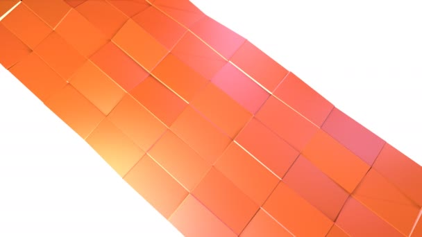Simple low poly 3D surface as cyber background. Soft geometric low poly motion background of shifting pure pink orange red polygons. 4K Fullhd seamless loop background with copy space