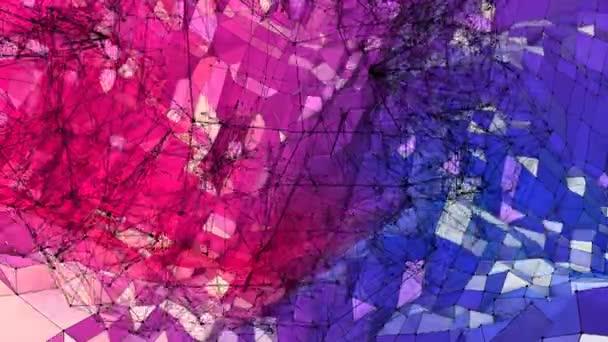 Abstraktní jednoduché modré červené nízké poly 3d povrch jako umělecké prostředí. Měkký geometrické nízké poly pohybu pozadí s čistě modré červené mnohoúhelníky. 4 k Fullhd bezešvé smyčka pozadí s přechodem modrá červená