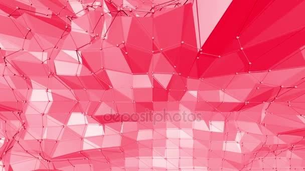 Růžové nebo růžové nízké poly oscilační povrch jako origami krajiny. Polygonální mozaika červené vibrační prostředí nebo pulzující pozadí kreslené nízké poly populární moderní stylový 3d design.