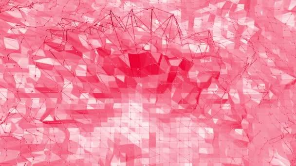 rosafarbene oder rosafarbene low poly oszillierende Oberfläche als chemische Umgebung. polygonale Mosaik rot vibrierende Umgebung oder pulsierender Hintergrund in Cartoon Low-Poly populäre moderne stilvolle 3D-Design.