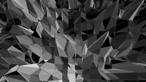 Abstraktní černá a bílá nízká poly mávat 3d povrch jako futuristické kyberprostoru. Šedá abstraktní geometrické vibrační prostředí nebo Blikající pozadí kreslené nízké poly populární stylový 3d design..