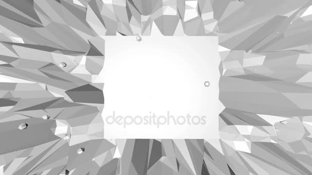Abstract simple black and white low poly waving 3D surface as geometry backdrop. Grey geometric vibrating environment or pulsating background in cartoon low poly popular stylish 3D design. Free space