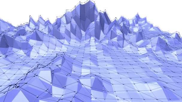 Modré nízké poly deformacím povrchu jako firemní pozadí. Modrá polygonální geometrické deformaci prostředí nebo Blikající pozadí kreslené nízké poly populární moderní stylový 3d design. Volné místo