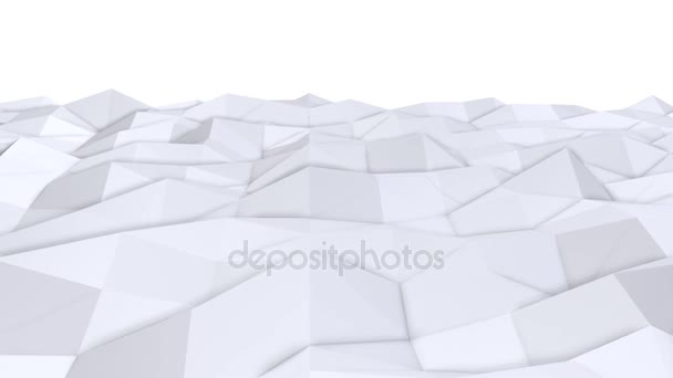 Simple low poly 3D surface as psychedelic background. Soft geometric low poly background of pure white grey polygons. 4K Full hd seamless loop background with copy space
