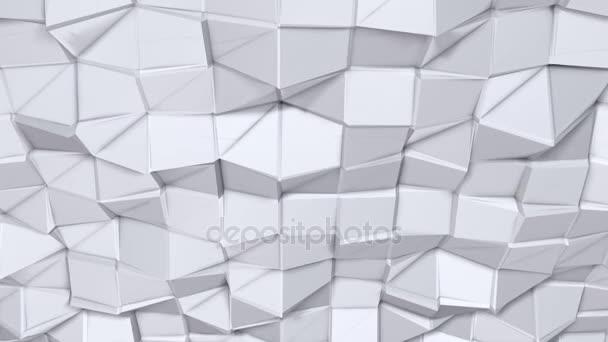 Jednoduché nízké poly 3d povrch jako sci-fi pozadí. Měkký geometrické nízké poly pozadí čistě bílé šedé polygonů. 4 k rozlišení Full hd bezešvé smyčka pozadí s kopií prostor