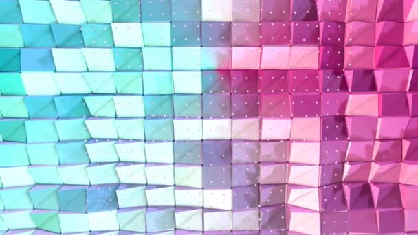 Abstract Simple Blue Pink Low Poly 3D Surface And Flying White Crystals As High Tech Background