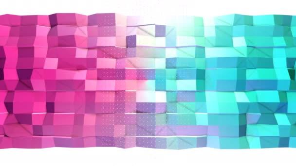 3d povrch abstraktní jednoduché modré růžové nízké poly a letící bílé krystaly jako fraktální prostředí. Měkký geometrické nízké poly pozadí čistě modrá růžová polygonů. 4 k Fullhd bezešvé smyčka pozadí.
