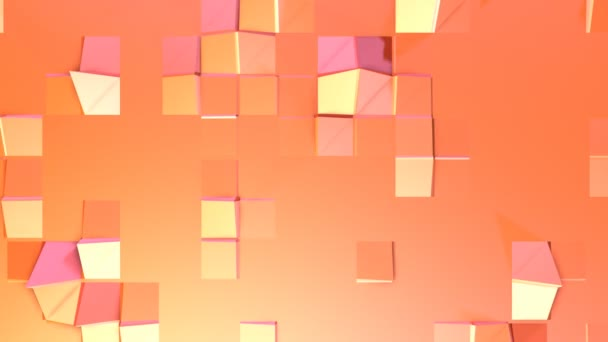 Simple low poly 3D surface as fractal background. Soft geometric low poly motion background of shifting pure pink orange red polygons. 4K Fullhd seamless loop background with copy space
