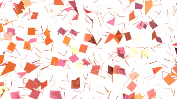 einfache Low Poly 3D Oberfläche als surreale Landschaft. weicher geometrischer Low-Poly-Bewegungshintergrund aus verschiebenden reinrosa orange roten Polygonen. 4k Fullhd nahtloser Schleifenhintergrund mit Kopierraum mit Kopierraum