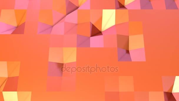 Jednoduché nízké poly 3d povrch jako prvek pohybu grafiku. Měkký geometrické nízké poly pohybu pozadí posunu čistě růžová oranžová červená mnohoúhelníky. 4 k Fullhd bezešvé smyčka pozadí s kopií prostor