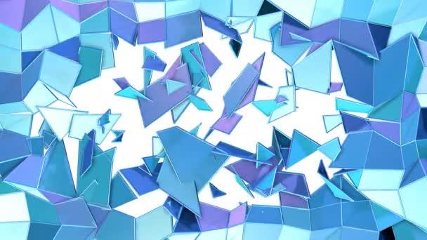 Absztrakt egyszerű kék lila alacsony poly 3d split felülete, mint a molekuláris háttere. Lágy geometrikus alacsony poly mozgás háttér tiszta, kék, lila sokszögek. 4 k Fullhd varrat nélküli hurok háttér