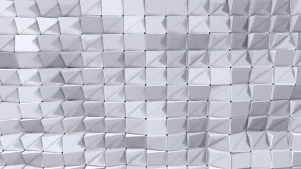 einfache Low-Poly-3D-Oberfläche als Elementbewegungsgrafik. weicher geometrischer Low-Poly-Hintergrund aus reinweißen grauen Polygonen. 4k full hd nahtloser Schleifenhintergrund mit Kopierraum