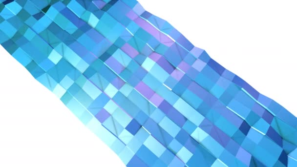 Abstract simple blue violet low poly 3D surface as art environment. Soft geometric low poly motion background of shifting pure blue violet polygons. 4K Fullhd seamless loop background