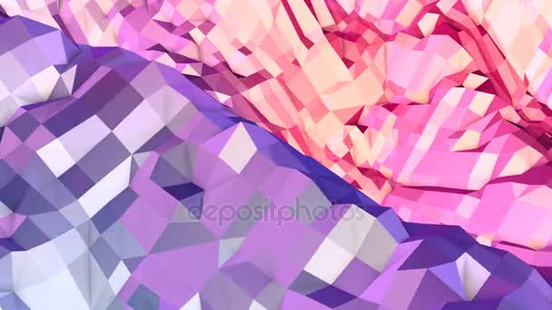 Soft geometric low poly motion background with pure blue red polygons. Abstract simple blue red low poly 3D surface as magnificent background. 4K Fullhd seamless loop background with gradient blue red