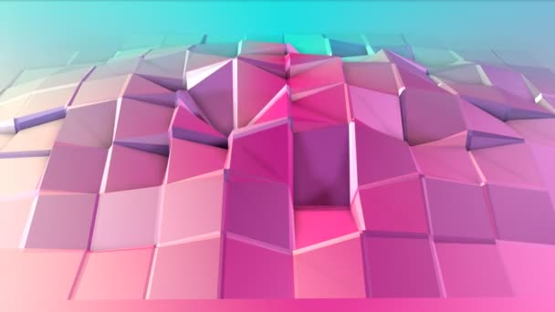 Abstract simple blue pink low poly 3D surface as fantasy background. Soft geometric low poly motion background of shifting pure blue pink polygons. 4K Fullhd seamless loop background with copy space