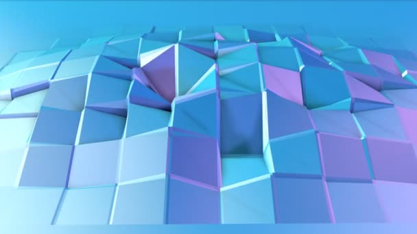 Abstract simple blue violet low poly 3D surface as dream background. Soft geometric low poly motion background with pure blue violet polygons. 4K Fullhd seamless loop background