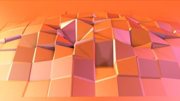 Jednoduché nízké poly 3d povrch matematické prostředí. Měkký geometrické nízké poly pohybu pozadí posunu čistě růžová oranžová červená mnohoúhelníky. 4 k Fullhd bezešvé smyčka pozadí s kopií prostor
