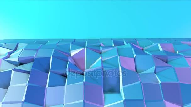 Absztrakt egyszerű kék lila alacsony poly 3d felület, mint kreatív háttérrel. Lágy geometrikus alacsony poly mozgás háttér tiszta, kék, lila sokszögek. 4 k Fullhd varrat nélküli hurok háttér
