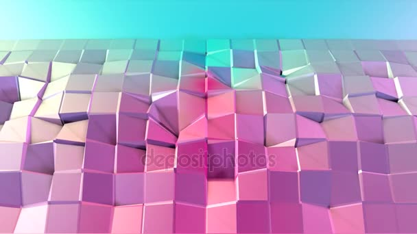 Abstract simple blue pink low poly 3D surface as surreal terrain. Soft geometric low poly motion background of shifting pure blue pink polygons. 4K Fullhd seamless loop background with copy space