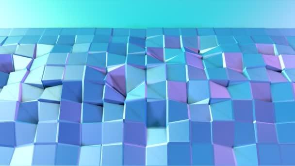 Abstraktní jednoduché modré fialové nízké poly 3d povrch jako módní pozadí. Měkký geometrické nízké poly pohybu pozadí s čistě modré fialové mnohoúhelníky. 4 k Fullhd bezešvé smyčka pozadí