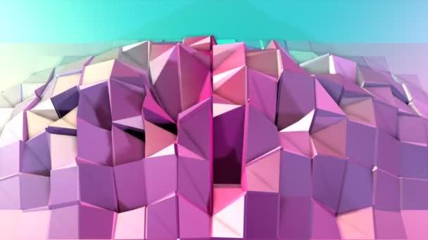 Absztrakt egyszerű kék rózsaszín alacsony poly 3D-s felületen szürreális táj. Lágy geometrikus alacsony poly mozgás háttérben változó tiszta kék rózsaszín sokszögek. 4 k Fullhd varrat nélküli hurok háttér-val másol hely